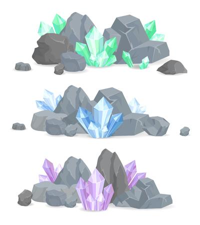 Ensemble de grappes de cristaux naturels dans des pierres solides Vecteurs