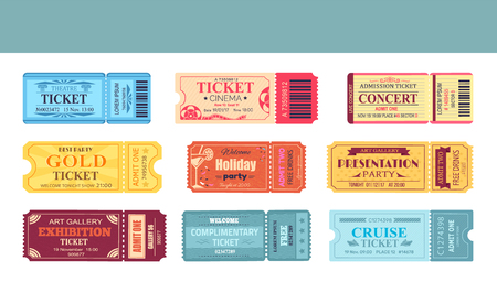 Theatre and Cinema Tickets Set Vector Illustration