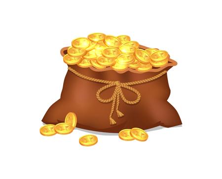 Treasure Coins in Brown Bag Vector Illustration Stock Illustratie