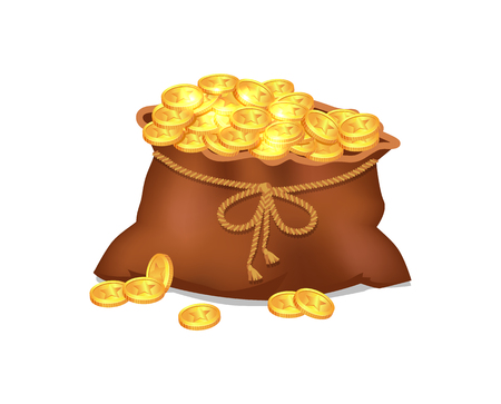 Treasure Coins in Brown Bag Vector Illustration