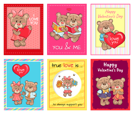 Happy Valentines day set of posters, true love is an always support, teddy girl in cheerleading uniform, lovers holds air balloon, read books vector Illustration