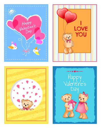 Happy Valentines day festive postcards set with big hearts, adorable dressed teddy bears and i love you signs cartoon flat vector illustrations set.