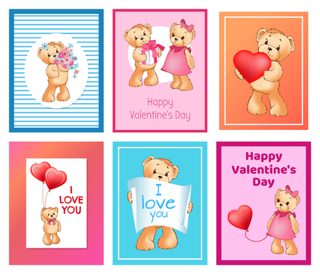 I Love You and Me Teddy Bears Vector Banque d'images - 95734677
