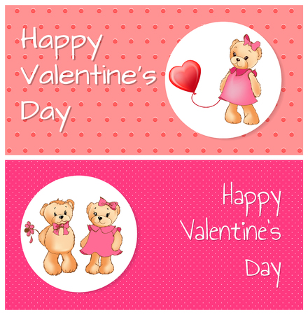 Happy Valentines day collection of posters with bear couple, male holding flower and female with balloon, title isolated on vector illustration