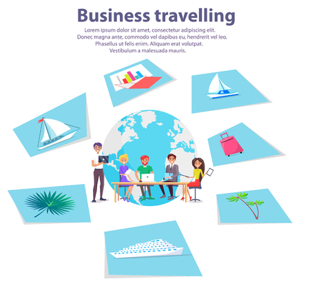 Business travelling agency advertisement illustrations. Vettoriali