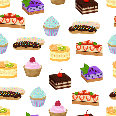 Cakes made of cream and banana, strawberries and raspberries, mint leaf and blueberries, and sweet bakery seamless pattern, vector illustration Standard-Bild - 95374319