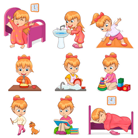Little Girl Does Daily Routine Illustrations Set