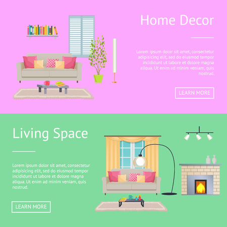 Home decor and living space, posters with compositions consisting of sofa and table with cup, bookshelf and window, isolated on vector illustration. Illustration
