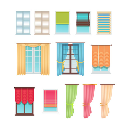 Luxurious curtains made of dense and light fabric and practical jalousies of plastic and wood hang on windows isolated cartoon vector illustrations. Ilustracja
