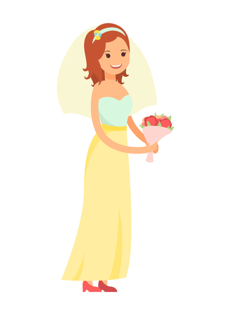 Happy Bride Isolated on White Vector Illustration