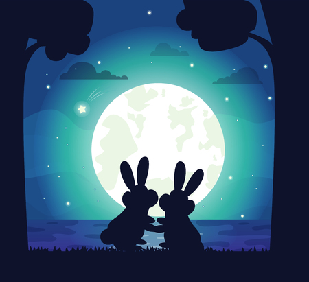 Silhouette of night sky and bunnies cuddling, stars and full moon, water and trees, romantic landscape on bank of river, vector illustration.