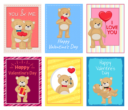 Adorable bears on Valentines Day postcards which hug each other, hold heart-shaped balloons, talks by phone, stand with gift vector illustrations. Illusztráció
