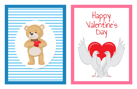 Gorgeous white doves couples in love with big red heart between or behind them isolated cartoon flat vector illustrations set for Valentines day. Foto de archivo - 95375676
