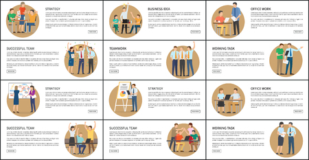 Office work strategy business vector illustrations of set of business cards, successful employees with schedules and laptops working on various tasks
