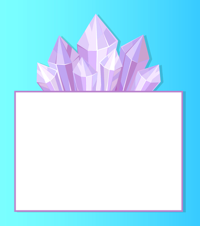 Purple crystals and place for text in white frame vector illustration natural resources poster isolated blue background. Fluorite geological material Stock Illustratie