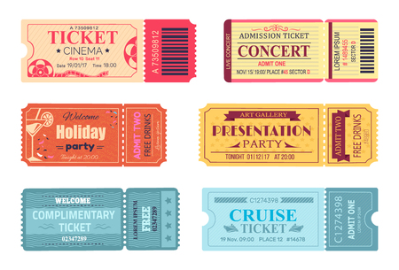 Tickets and Admissions Set Vector Illustration