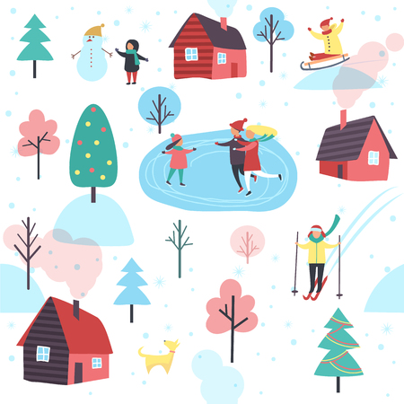 Winter seamless pattern with people on ice skating rink, cottage houses and green trees isolated cartoon vector illustrations on white background.