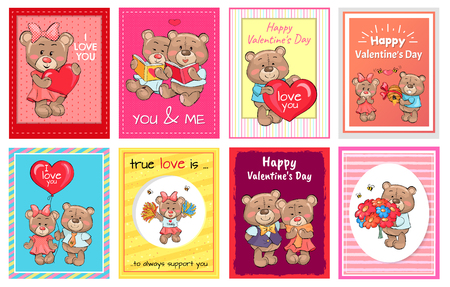 Happy Valentines Day I love you Set of Poster Bear Imagens - 95557077