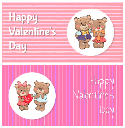 Happy Valentines Day Poster Couple of Teddy Family