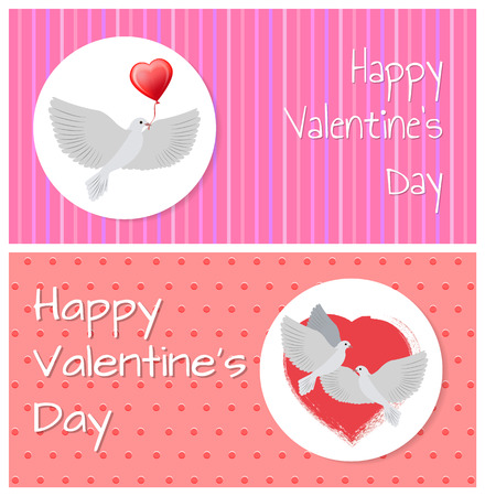 Happy Valentines Day Banners Doves Fly Peacefully Stock Vector - 95557085