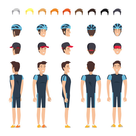 Bicyclist in Elastic Clothes Character Constructor Ilustrace