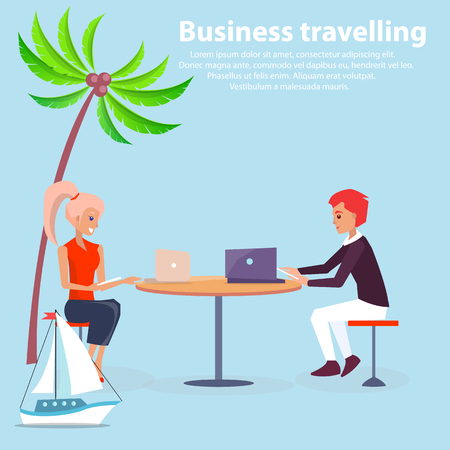 Business traveling poster vector illustration with man and woman sitting at table with laptops, cute ship and palm, text sample isolated on blue field