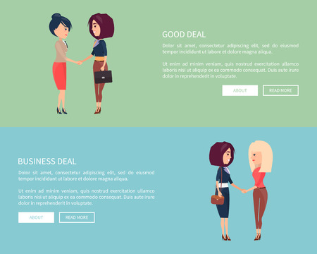 Good business deal set of posters with two women blonde and brunette shaking hands greeting each other or coming to conclusion vector illustration Illustration