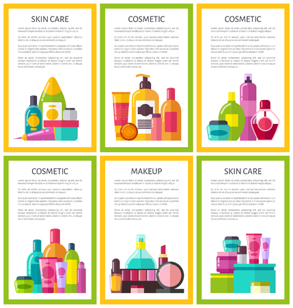 Lot of skin care makeup cosmetic color banners, framed vector illustration, many vials with care stuff, perfume and lipstick, powder and nail polish Çizim