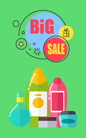 Big sale for shampoos and shower gels promotional poster. Plastic bottles of toiletry products vector illustrations on discount advertisement banner.