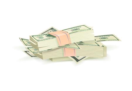 Bundle of Green Dollar Bills Vector Illustration