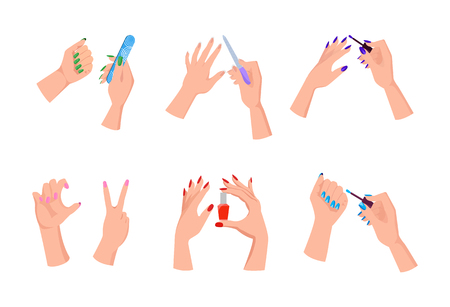 Female Hands with Bright Manicure and Nail Files Illustration
