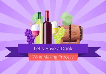 Lets Have a Drink Poster, Vector Illustration Illustration