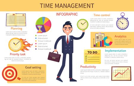 Time Management Planning Control Bright Banner Vectores