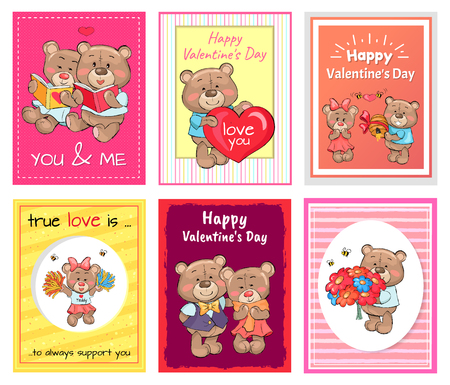 Posters Set Happy Valentines Day to You and Me