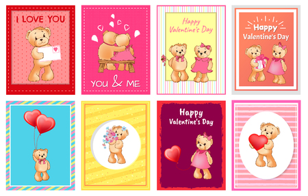 I Love You and Me Teddy Bears greeting cards Vector illustration.