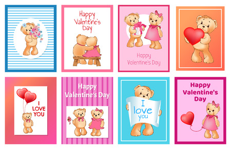 I Love You and Me Teddy Bears Vector Banque d'images - 95661057