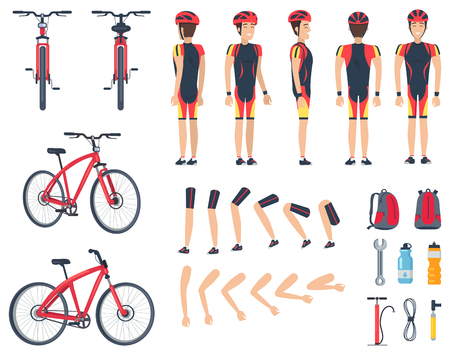 Man in Special Sport Clothes and Modern Bicycle Ilustrace