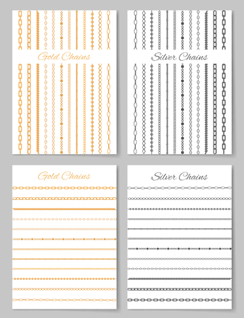 Gold and Silver Chains Posters Vector Illustration