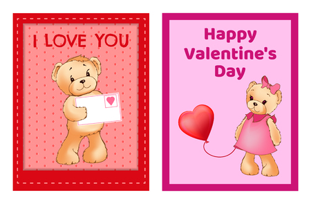 I Love You and Me Teddy Bears greeting cards Vector illustration. 版權商用圖片 - 95614391