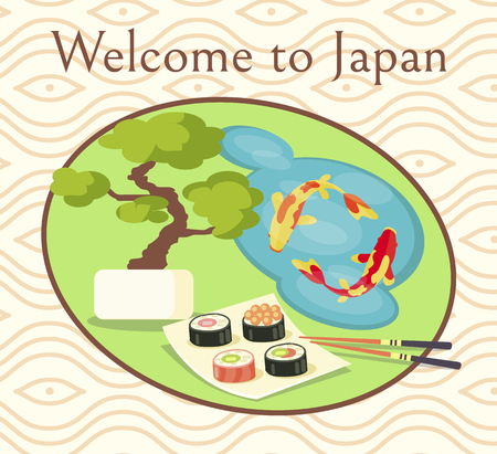 Welcome to Japan Promotional Poster with Sushi