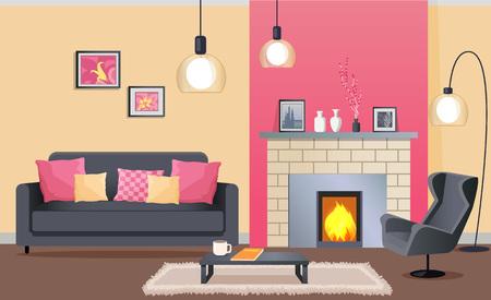 벽난로가있는 아늑한 거실의 인테리어 디자인 일러스트