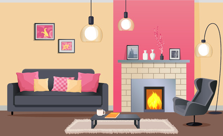 Interior Design of Cozy Living Room with Fireplace Illustration