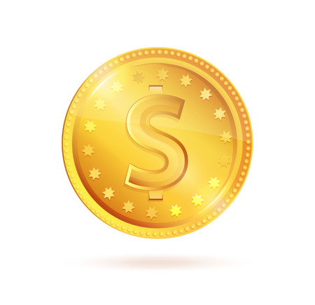 Golden Coin Dollar Sign Vector Symbol Isolated