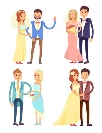 Married Couple and Hugs Set Vector Illustration Иллюстрация