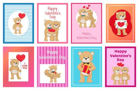 I Love You and Me Teddy Bears Vector 일러스트