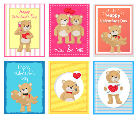 I love you and me teddy bears greeting cards vector illustration i love you and me teddy bears greeting cards vector illustration stock vector 95614398 m4hsunfo