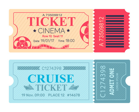 Cinema Ticket Cruise Coupon Vector Illustrations
