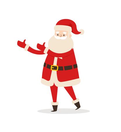 Santa Claus Cartoon Xmas Character Vector Icon Illusztráció
