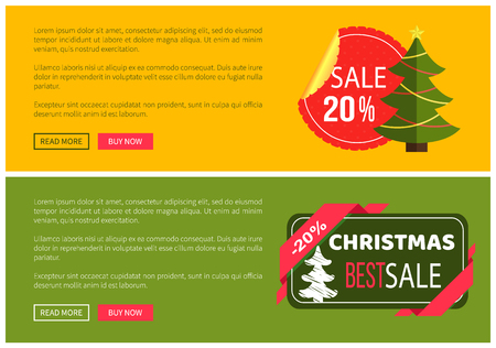Premium quality hot price christmas sale card vector illustration isolated on yellow and green backgrounds, ad text, tree ribbons push-buttons toys