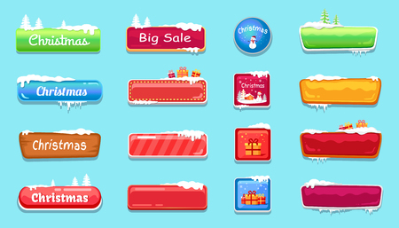 Set of Winter Theme Web Push Button Covered Snow
